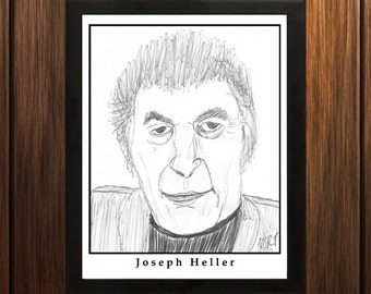 Joseph Heller - Sketch Print - 8.5x11 inches - Black and White - Pen - Caricature Poster