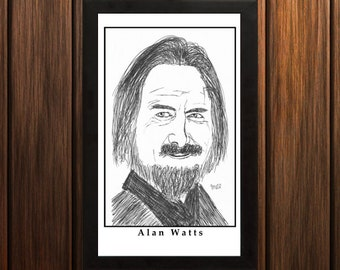 Alan Watts - Sketch Print - 6.5x11 inches - Black and White - Pen - Caricature Poster