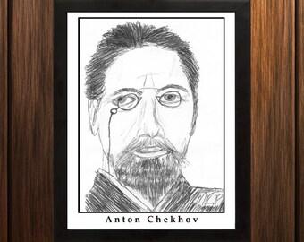 Anton Chekhov - Sketch Print - 8.5x11 inches - Black and White - Pen - Caricature Poster