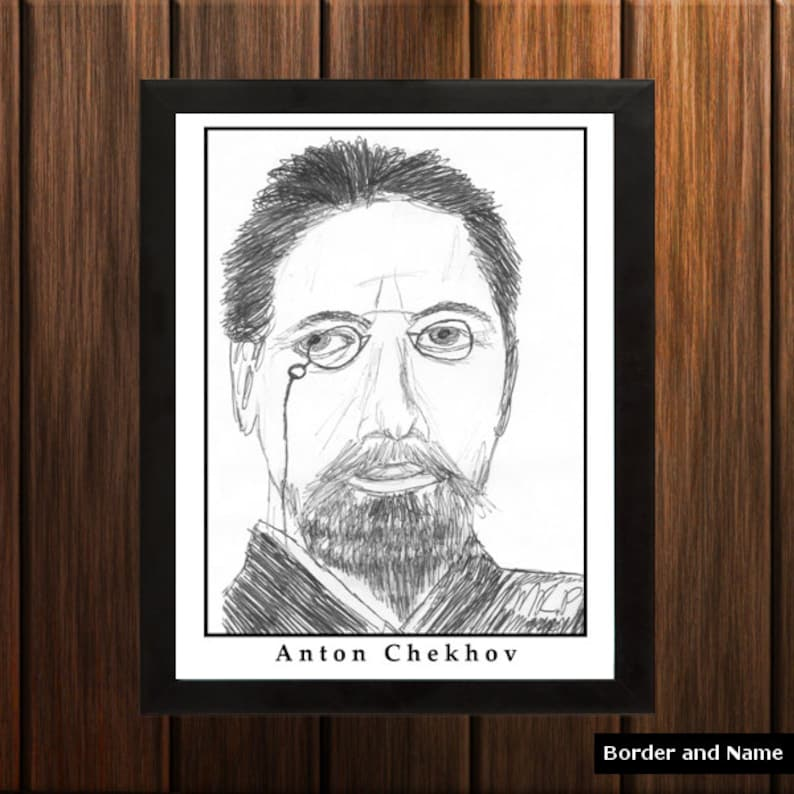 Anton Chekhov  Sketch Print  8.5x11 inches  Black and White image 0