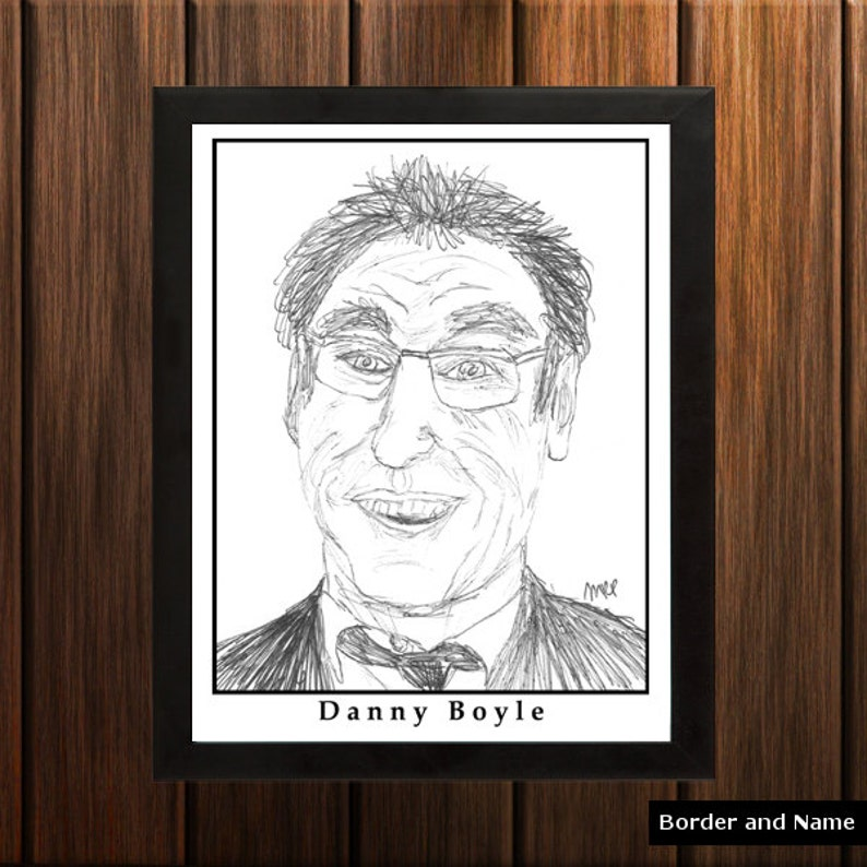 Danny Boyle  Sketch Print  8.5x11 inches  Black and White  image 0