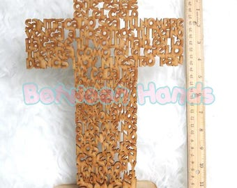 Padre Nuestro Cross laser cut, Our father prayer, wooden hanging cross, Baptism, Christening centerpiece, Communion centerpiece