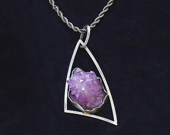 MOD Druzy Amethyst Crystal Cluster Sterling Silver Atomic Pendant Necklace Mid Century Modernist Inspired