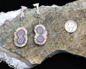 Druzy Double Eye Amethyst Stalactite Biomorphic Geode Slice Sterling Silver Atomic Earrings Mid Century Modernist Inspired