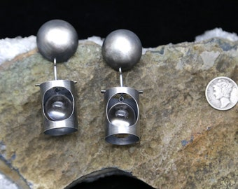 Ultra MOD Rock Quartz Crystal Ball Sterling Silver Atomic Pools of Light Earrings Mid Century Modernist Inspired