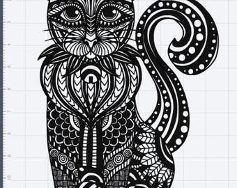 Great Mandala Cat Design SVG EPS DXF Studio 3 Cut File
