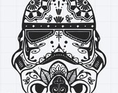 Star Wars Storm Trooper Sugar Skull Design SVG EPS DXF Studio 3 Cut File