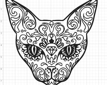 Mandala Style Cat SVG PDF EPS Dxf U0026 Studio 3 Cut Files