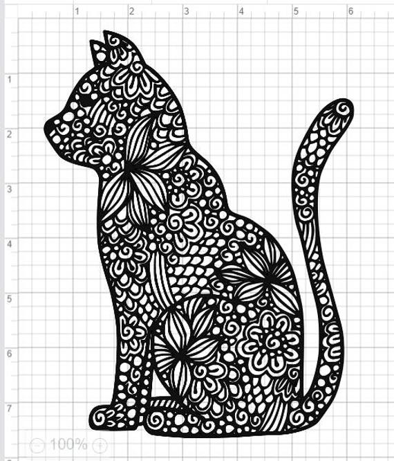 Marvelous Mandala Style Cat SVG PDF EPS Dxf U0026 Studio 3 Cut Files | Etsy