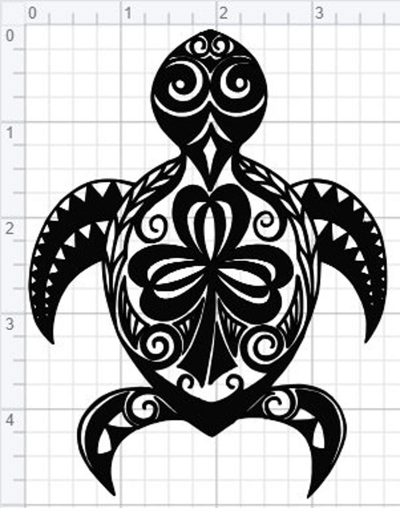 Tribal Sea Turtle Design Svg Eps Dxf Pdf Studio 3 Cut Files Etsy