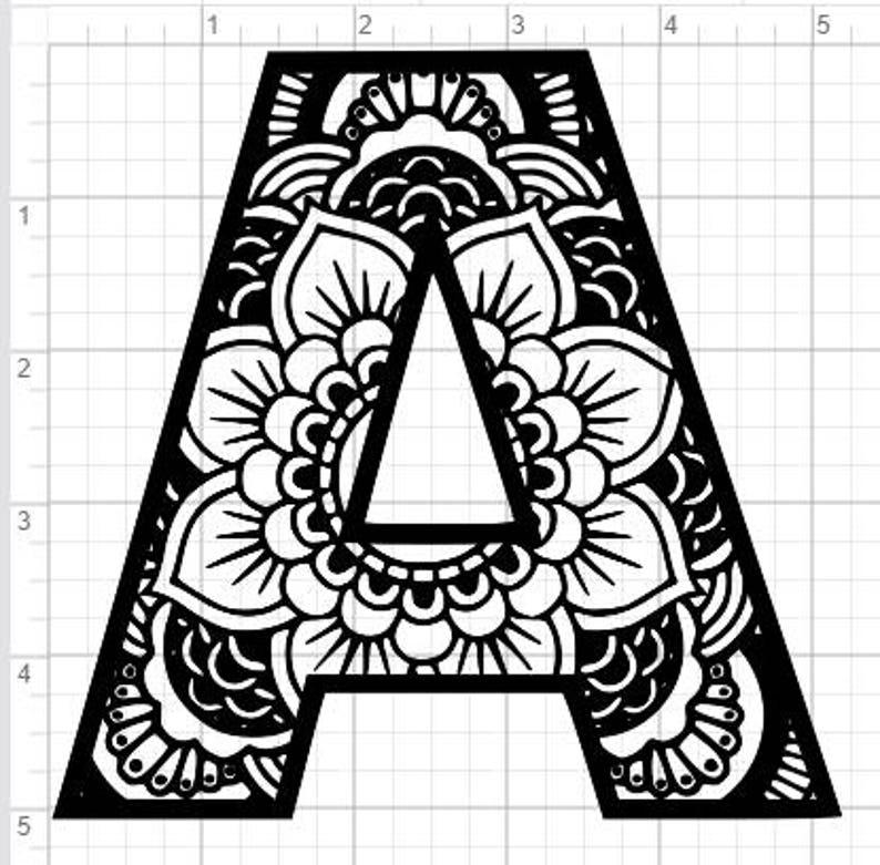 mandala alphabet letter a design svg pdf eps dxf studio
