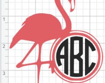 Flamingo Monogram Design SVG PDF Eps Dxf & Studio 3 Cut Files