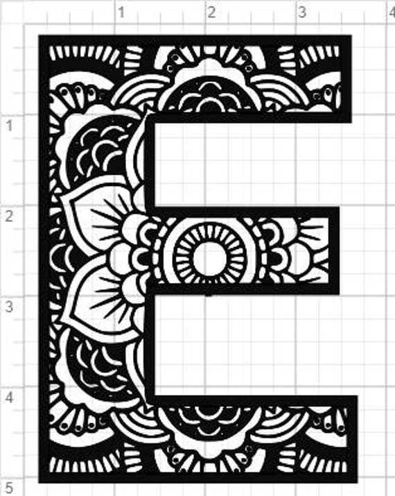 Mandala Alphabet Letter E Design Svg Pdf Eps Dxf Studio 3 Etsy