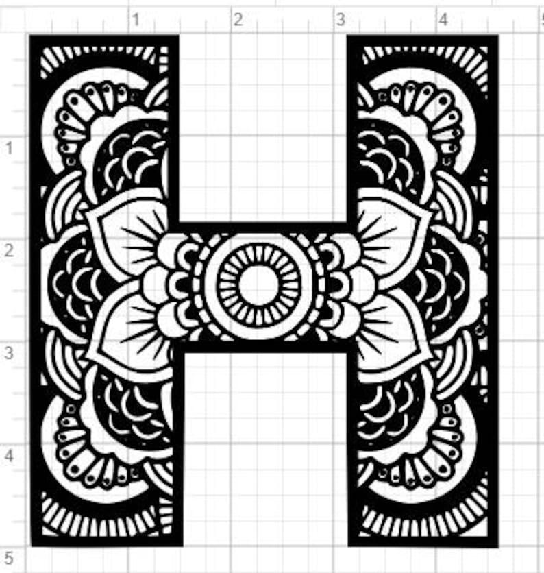 Mandala Alphabet Letter H Design SVG PDF Eps Dxf & Studio 3   Etsy