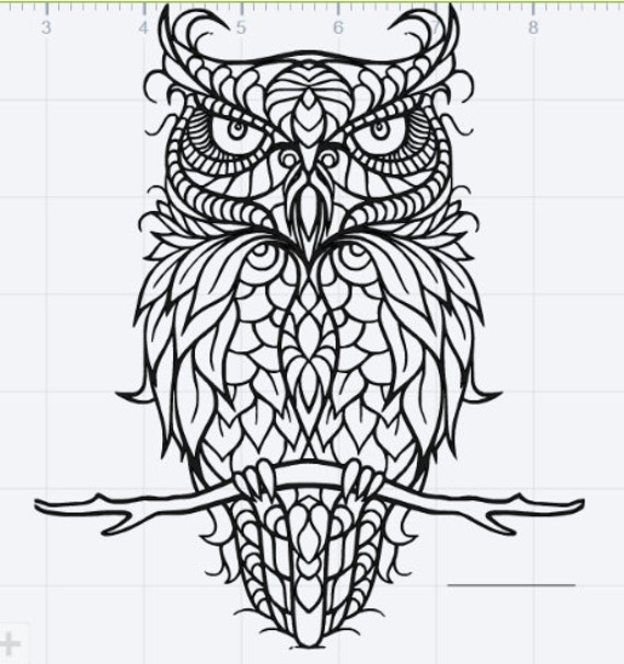 Mandala Owl Design Svg Eps Dxf Studio 3 Cut File Etsy