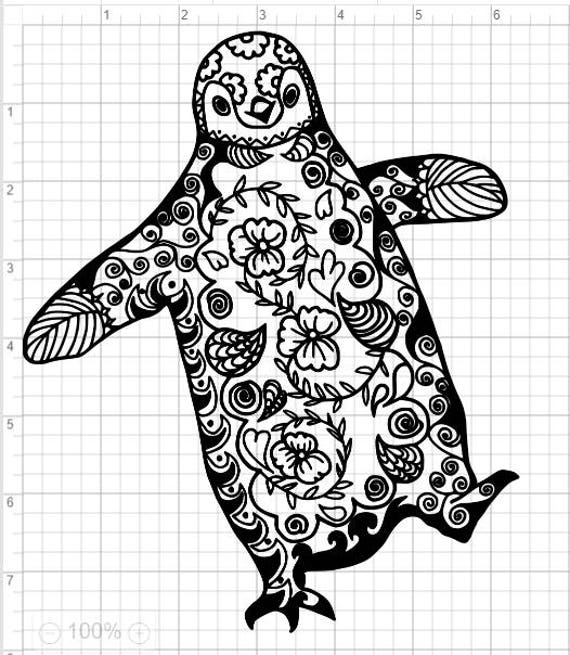 Mandala Style Penguin SVG PDF EPS Dxf & Studio 3 Cut Files ...
