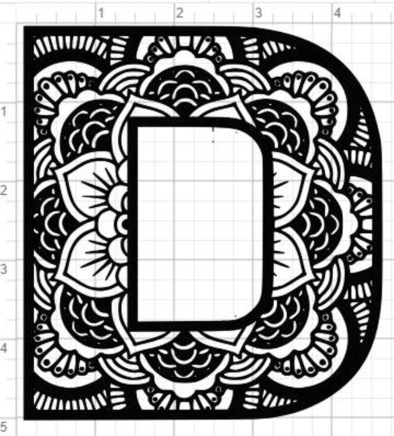 Mandala Alphabet Letter D Design Svg Pdf Eps Dxf Studio 3 Etsy