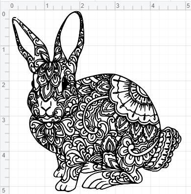 mandala bunny design svg pdf eps dxf  studio 3 cut files | etsy
