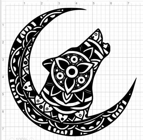 Wolf Moon Mandala Design SVG EPS DXF Pdf Studio 3 Cut File ...