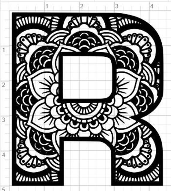 Mandala Alphabet Letter R Design Svg Pdf Eps Dxf Studio 3 Etsy