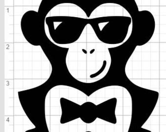 Tuxedo Chimp Design SVG EPS DXF Studio 3 Cut File