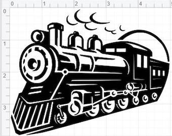 Vintage Steam Train Design  SVG PDF EPS Dxf & Studio 3 Cut Files