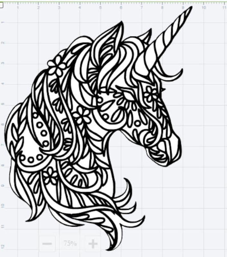 mandala einhorn design svg eps dxf studio 3 geschnitten