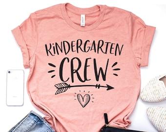 d0aedb6df Kindergarten Crew, Teacher Shirt, Kinder Squad, Kindergarten Tribe, School  Teacher, Teaching Shirt, Teacher Team, Unisex Graphic Tee