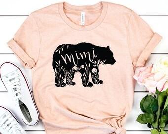 54532da4a54b4 Mimi Bear Shirt - Mimi Gifts - Floral Bear Shirts - Grandma Bear Shirt -  Mothers Day Gift - Gift For Mom - Unisex Graphic Tee