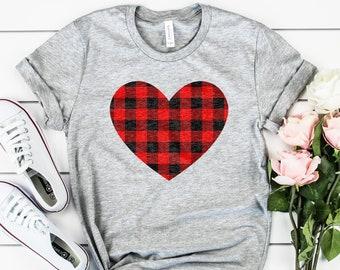 b1130bc9db3d3f Valentine Shirt - Red Buffalo Plaid Heart - XOXO - Valentines Day Gift -  Unisex Graphic Tee