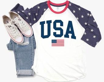9c90998f USA Shirt - 4th Of July Shirt - Fourth Shirts - Merica - Patriotic Raglan - Red  White And Blue - American Flag Shirt - Unisex Graphic Tee