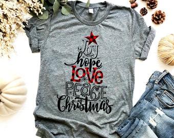 564c5afe3 Buffalo Plaid Christmas Shirt - Joy Hope Love Peace Word Tree - Christmas  Gifts - Distressed Vintage Design - Bella Canvas Unisex Tee