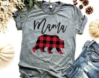 44acab998e0172 Mama Bear Shirt - Buffalo Plaid - Mom Shirt - Gifts For Mom - Bear Family  Shirts - Mom To Be - Unisex Bella Canvas Graphic Tee