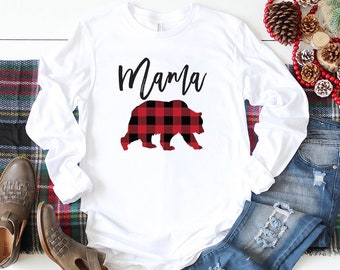 79977ed8 Mama Bear Long Sleeve Shirt - Buffalo Plaid - Mom Shirt - Gifts For Mom -  Bear Family Shirts - Mom To Be - Bella Canvas Graphic Tee
