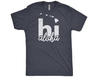 Aloha Beaches, Hawaiian Islands, Hawaii Map, Hi, Gift For Her And Him, Couples Shirt, Home, Next Level Apparel Tri-Blend T-Shirt