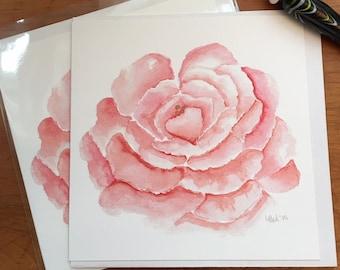 Watercolor Peony Notecard