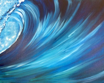 abstract wave painting etsy