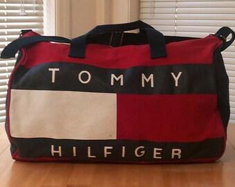Vtg 90s TOMMY HILFIGER Multi-Color Cotton Canvas Duffle Carry-On Travel Gym  Bag 45c7d36bd28df