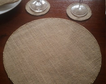 10x Round Burlap/Hessian  Placemats for Weddings, Engagements, Celebrations, Parties etc.