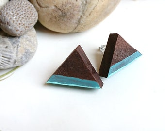 Teal Triangle Earrings - Teal Triangle Studs - Teal Stud Earrings - Teal Green Earrings - Walnut Wood Earrings - Reclaimed Wood Earrings