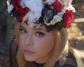 Day of the Dead Flower Crown, Sugar Skull Headdress, Dia de los Muertos Headpiece - La Catrina Flower Crown