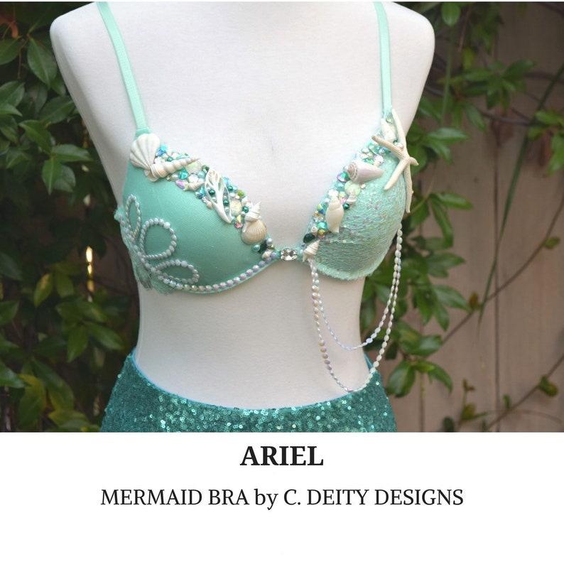 0d22d07282 Mermaid Bra Rave Bra FestivalBra Premade 36B ARIEL