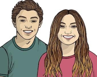 Custom Couple Portrait - custom portrait of couple