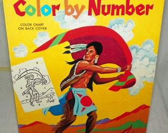 Whitman Indians Color By Number Coloring Book 1975 Produced in USA