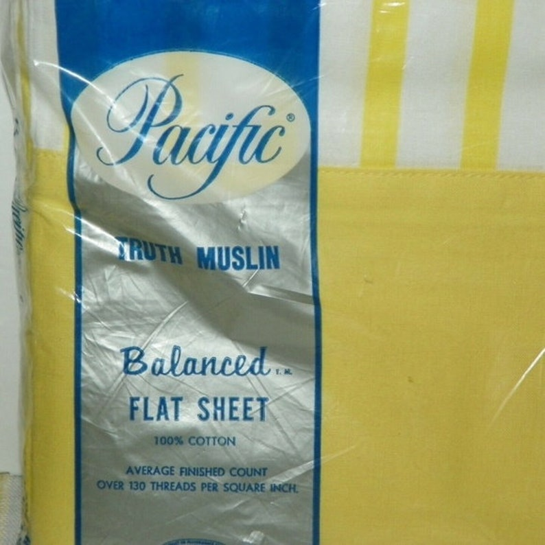 Vtg Pacific Yellow White Striped Full Flat Sheet 81 X 108 New Old Stock