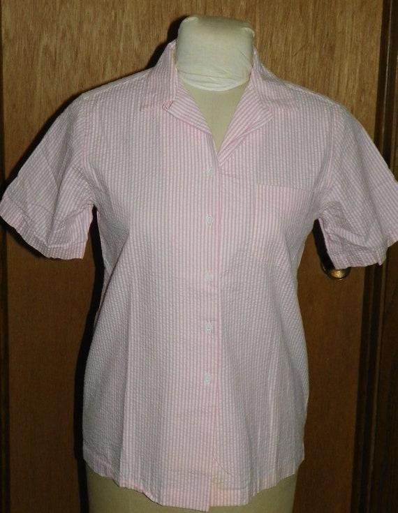 Reyn Spooner Pink And White Seersucker Shirt Women S Size Etsy