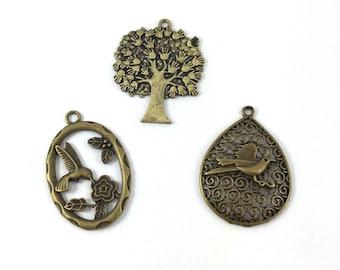 Set of 3 large bird or tree metal antique bronze