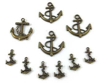 Set of 10 charms anchor Navy metal bronze