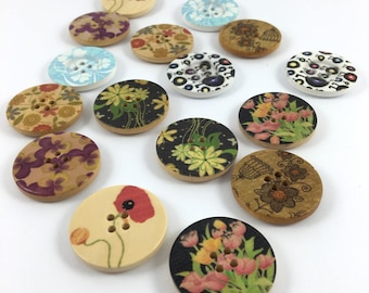 Set of 16 various patterned wooden buttons
