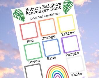 Nature Scavenger Hunt • Outdoor Scavenger Hunt • Nature Treasure Hunt • Kids Outdoor Game • Kids Outdoors  • Kids Nature Activity • Rainbows